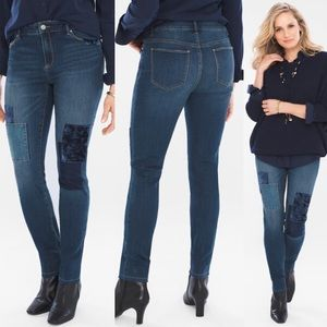 Chico's The Platinum Velveteen Patch Jeggings